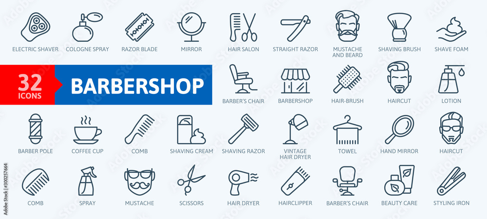 Fototapety, obrazy: Barber shop elements - minimal thin line web icon set. Outline icons collection. Simple vector illustration.