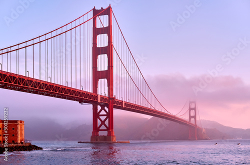 Golden Gate Bridge at sunrise, San Francisco, California