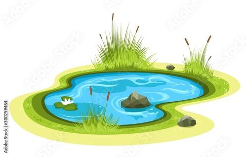 Fotomural Cartoon garden pond