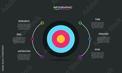 Photo  Six 6 Options infographic with shot target icon