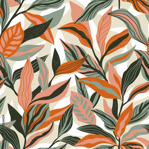 Tropical leaves hand drawn seamless pattern Wallpaper Mural