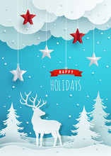 Christmas Greeting Card Design. Paper Decoration And Clouds Against Blue Background.  Vector Illustration