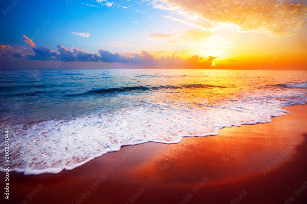 Fototapety, obrazy: beautiful tropical sunset and sea