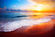 canvas print picture - beautiful tropical sunset and sea
