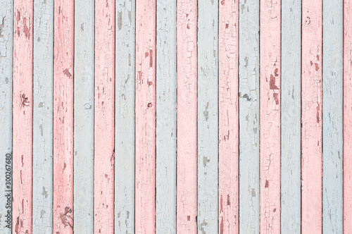 Fotografering Pale blue and pink wood planks texture or background