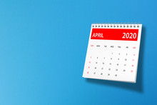 April 2020 Calendar On Blue Ba...