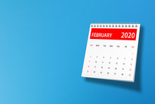 February 2020 Calendar On Blue...
