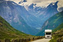 Camper Car In Norwegian Mounta...