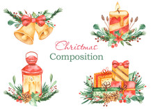 Watercolor Christmas Composition With Bells, Lantern, Gifts