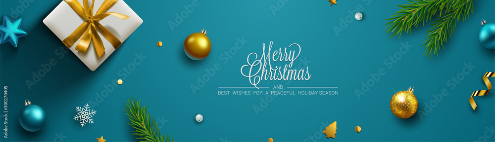 Fototapeta Christmas background, banner, frame, header, background or greeting card design. Vector Illustration