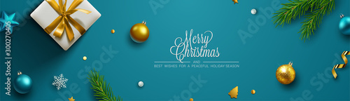 Obraz Christmas background, banner, frame, header, background or greeting card design. Vector Illustration - fototapety do salonu