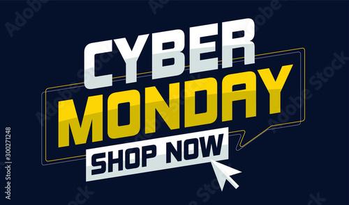 Fotografía  Cyber Monday sale deals vector illustration with mouse cursor