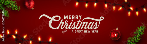 Christmas background, banner, frame, header, background or greeting card design. Vector Illustration - 300272050