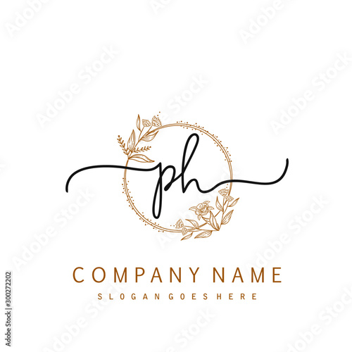 Initial Ph Beauty Monogram And Elegant Logo Design Handwriting Logo Of Initial Signature Wedding Fashion Floral And Botanical With Creative Template Buy This Stock Vector And Explore Similar Vectors At Adobe