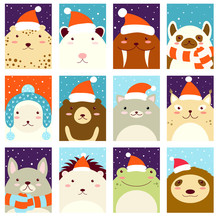 Set Of Christmas Gift Tag, Card, Badge, Sticker With Cute Animals