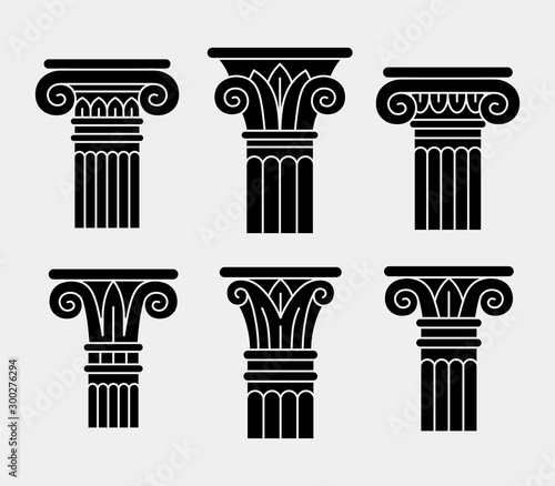 Photo Set of six black ancient columns, orders, pillars.