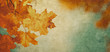 canvas print picture grunge background with autumn leaves