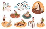 Fototapeta Dinusie - Set of isolated icons for archeology job and paleontology profession. Isometric signs with archeologist and paleontologist with dinosaur bones. Archaeologist tools, brush, shovel. Dig and excavation