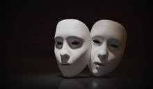 White Theater Masks On Black B...