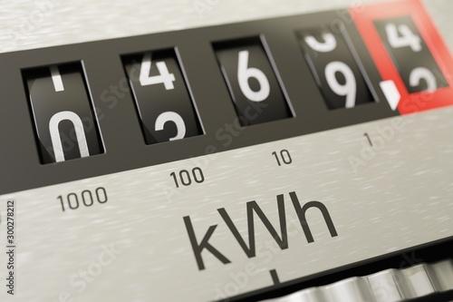 Fototapeta Close-up view on electrometer measuring electricity consumption. obraz