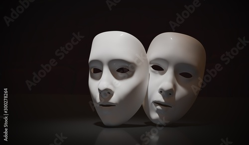 Photo White theater masks on black background. 3D rendered illustratio