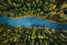 Aerial View Of River Passing T...