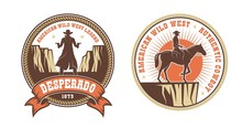 Western American Logo With Cow...