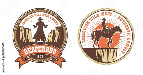 Photo Western American logo with cowboy bandit and horse rider