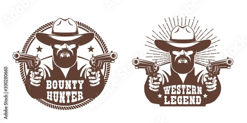 Western cowboy with beard and two guns - retro emblem Wallpaper Mural