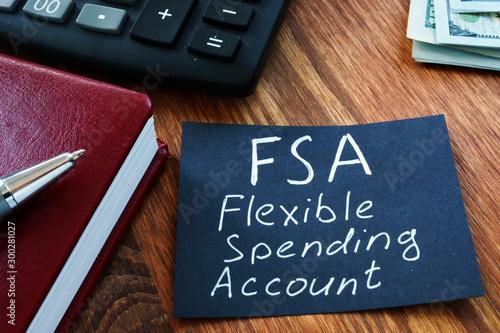 Valokuva  Text sign showing hand written words FSA flexible spending account
