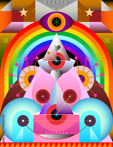 Tuinposter Abstractie Art Abstract Art Design with Rainbow