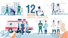 Medical Professionals Characters Flat Vector Set