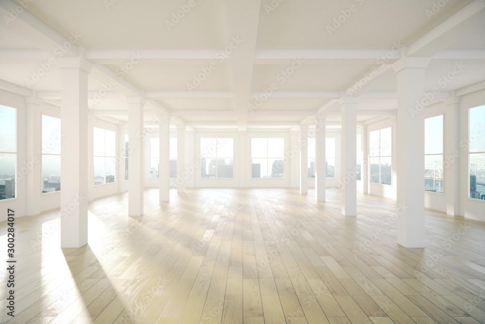 Fototapety, obrazy: Interior with panoramic windows