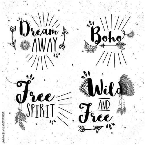 Fotobehang Boho Stijl Creative hand drawn typographic collection.