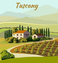 Village Houses And Farmland. Color Vector Illustration