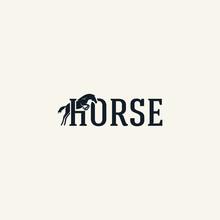 Horse Jump Logo Typography Flat