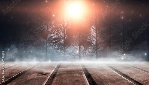Foto auf Leinwand Dunkelbraun Winter wooden table. Forest winter landscape, snowflakes, sunlight.