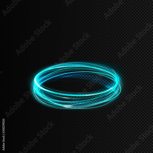 Obraz Vector shining radial circles. Illustration of curved lines. Blue whirlpool with magic glow effect isolated. It can be used as a decorative element in a game and your own projects. EPS10 file. - fototapety do salonu