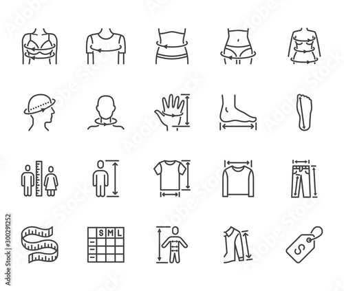Clothes size flat line icons set Fototapet