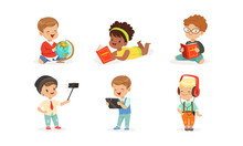 Little Children With Gadgets A...