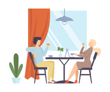 Man And Woman Are Drinking Tea In A Cafe. Vector Illustration.