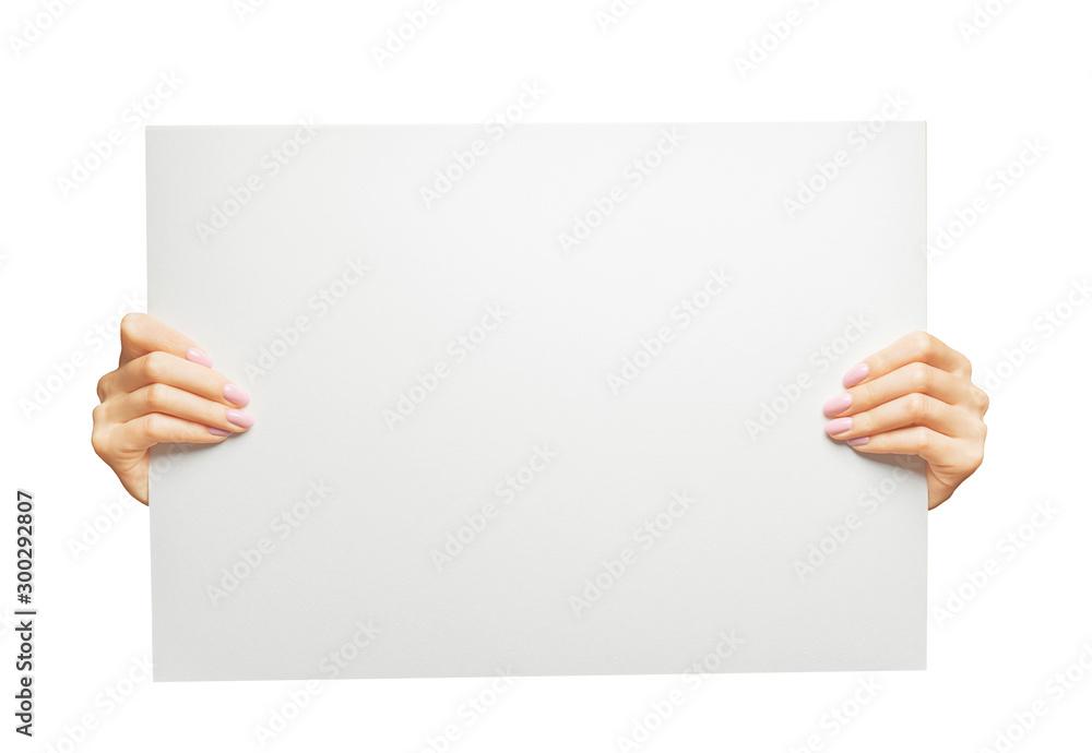 Fototapeta Female hands holding blank poster, copy-space.