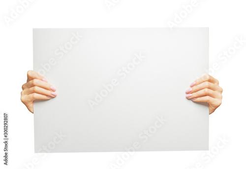 Fototapeta Female hands holding blank poster, copy-space. obraz
