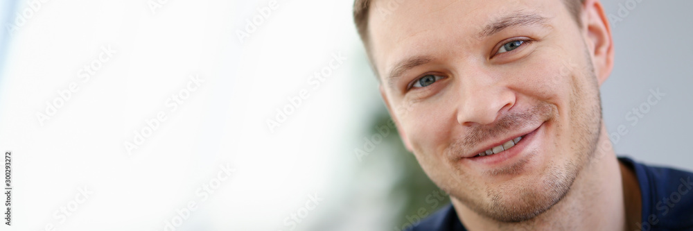 Fototapety, obrazy: Handsome and Smiling Male Face Closeup Portrait
