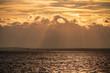 canvas print picture - Surfen im Sonnenuntergang auf dem Neusiedler See, Burgenland, Österreich