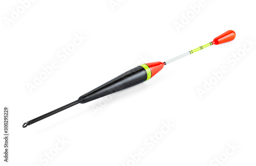 Fotografie, Obraz  Fishing float elongated, bright contrasting color, isolated on a white background with shadows