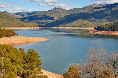 Reservoir and mountain landscape in Cazorla, Andalucia. Tranco Beas. Spain