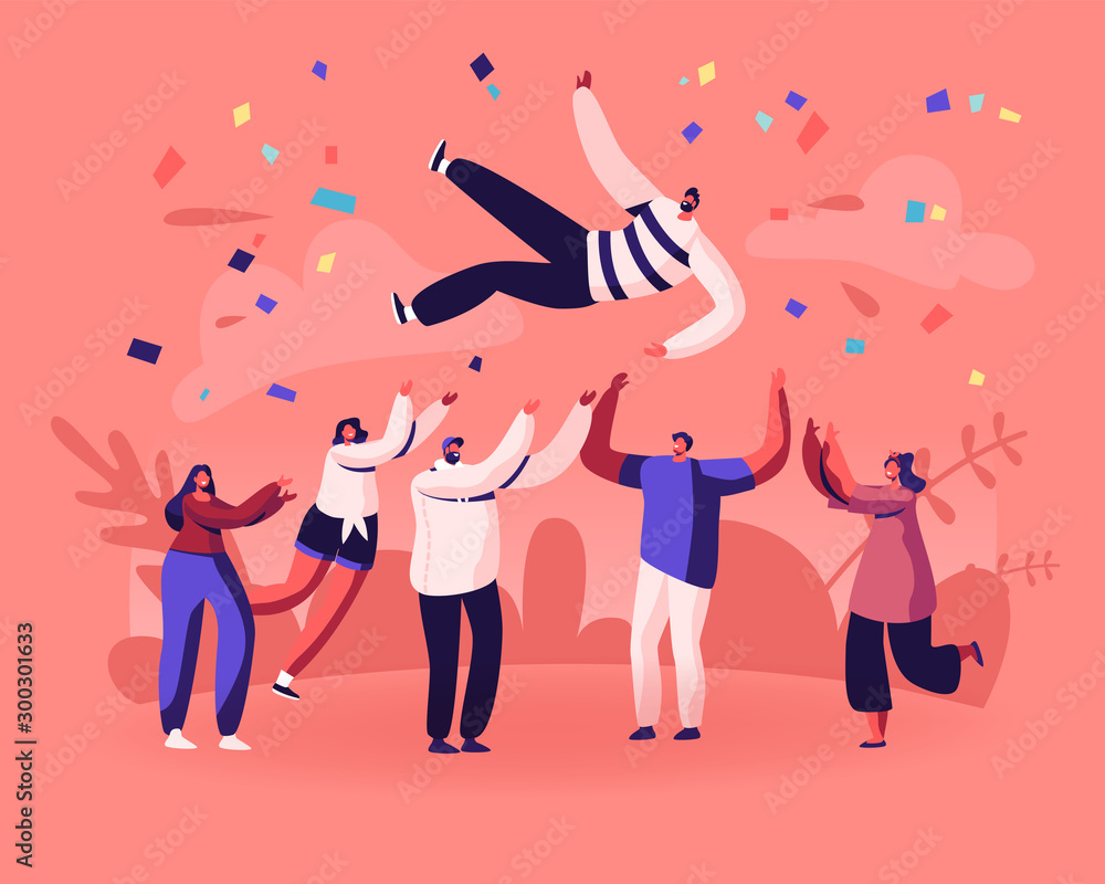 Fototapeta Friends Birthday Party, Business Success Congratulation. Team of Young People Tossing Up in Air Man with Confetti Flying Around. People Celebrating Victory Achievement Cartoon Flat Vector Illustration