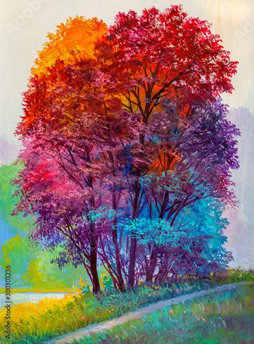 Fototapeta Oil painting landscape - colorful autumn forest obraz na płótnie
