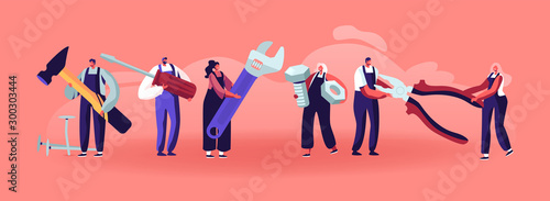 Professional Construction Workers with Tools Wallpaper Mural